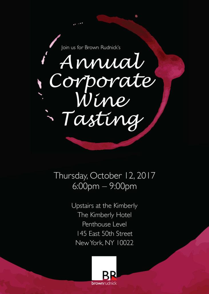 4th Annual Corporate Wine Tasting Event - Brown Rudnick