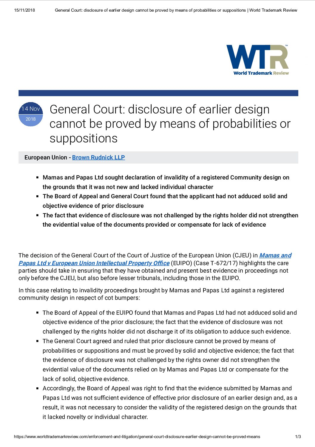 General Court_ disclosure of earlier design cannot be proved by